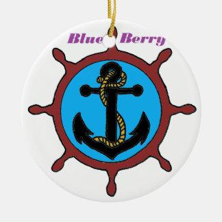 Ornement Rond En Céramique ANCRE MARINE BLUE BERRY.png
