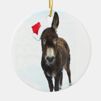 Ornement Rond En Céramique Âne de Père Noël