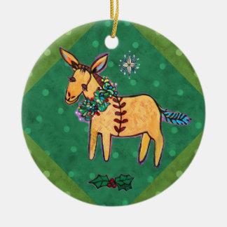 Ornement Rond En Céramique Âne humble à l'ornement de Noël de Manger