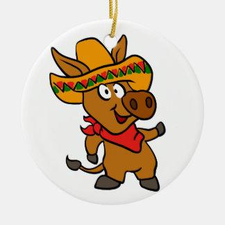 Ornement Rond En Céramique Âne mexicain