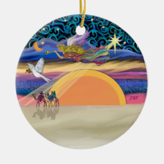 Ornement Rond En Céramique Ange de Noël - ajoutez votre animal familier