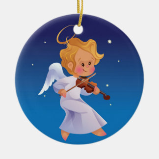 Ornement Rond En Céramique Ange mignon jouant le violon