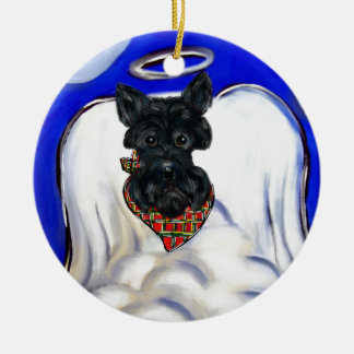 Ornement Rond En Céramique Ange noir de Terrier d'écossais
