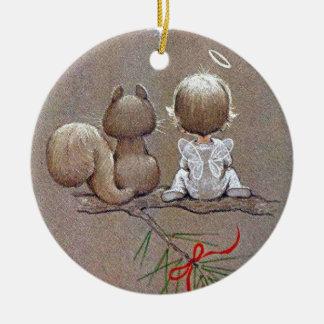 Ornement Rond En Céramique Ange vintage mignon et écureuil de Noël