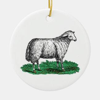 Ornement Rond En Céramique Animaux de ferme vintages de brebis de moutons