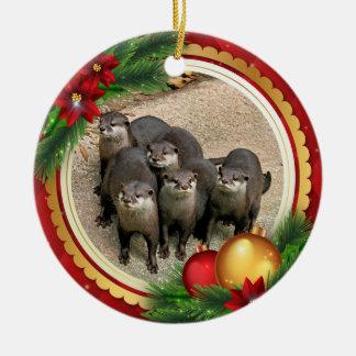 Ornement Rond En Céramique Animaux mignons de Noël de loutres de faune