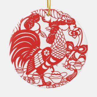 Ornement Rond En Céramique Année 2017 de coq de Papercut de Chinois