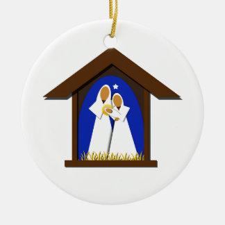 Ornement Rond En Céramique Année de coutume de nativité de Noël bleu et blanc