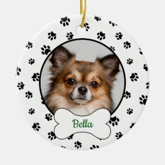 Ornement Rond En Céramique Année mignonne de nom de photo de chien avec les