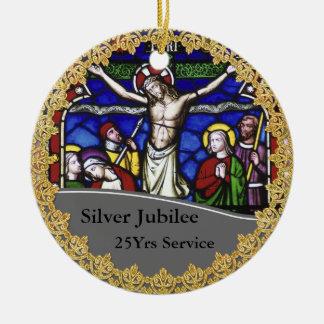 Ornement Rond En Céramique Anniversaire de classification de prêtre 25ème