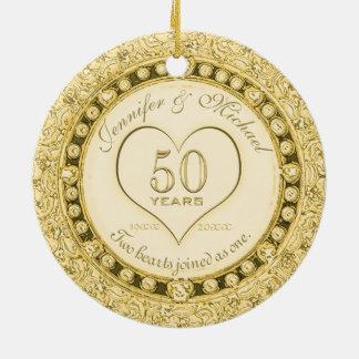 Ornement Rond En Céramique Anniversaire d'or cinquantième