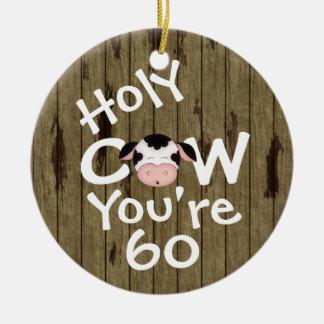 Ornement Rond En Céramique Anniversaire humoristique personnalisé de vache