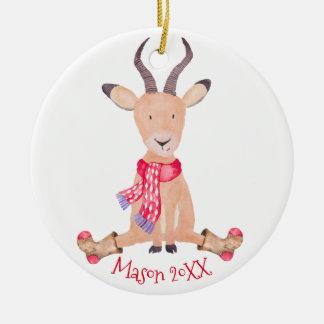 Ornement Rond En Céramique Antilope de Noël d'aquarelle personnalisée
