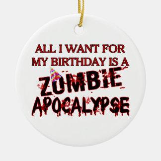 Ornement Rond En Céramique Apocalypse de zombi d'anniversaire