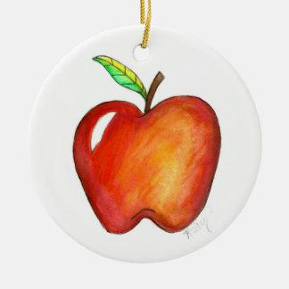 Ornement Rond En Céramique Apple pour mon éducation d'école de professeur