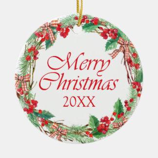 Ornement Rond En Céramique Aquarelle de Noël | - arc Wreat de houx et de