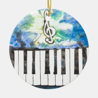 Ornement Rond En Céramique Aquarelle de piano