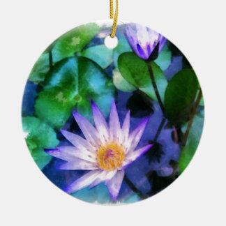 Ornement Rond En Céramique Aquarelle pourpre de Lotus