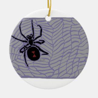 Ornement Rond En Céramique Araignée de veuve noire