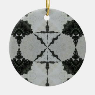 Ornement Rond En Céramique Araignée, noir et gris de loup de kaléidoscope