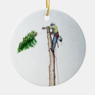 Ornement Rond En Céramique Arboriste de chirurgien d'arbre au présent de