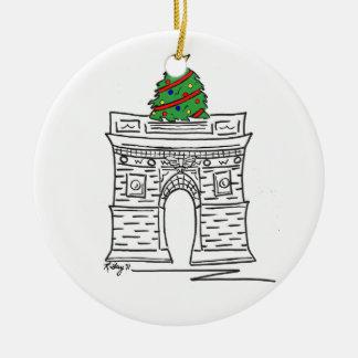 Ornement Rond En Céramique Arbre carré de Washington de Noël de New York City