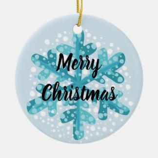 Ornement Rond En Céramique Arbre de Joyeux Noël de flocon de neige et