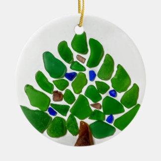 Ornement Rond En Céramique Arbre de Noël en verre de mer verte