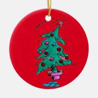 Ornement Rond En Céramique Arbre de Noël - Joyeux Noël