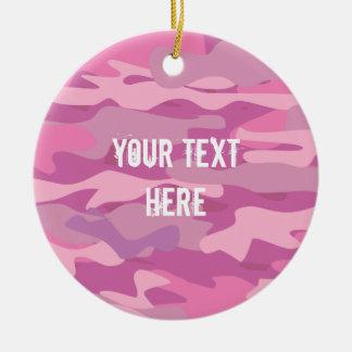 Ornement Rond En Céramique Arbre de Noël rose fait sur commande de photo de