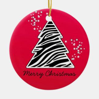 Ornement Rond En Céramique Arbre de Noël rouge de zèbre