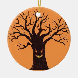 Ornement Rond En Céramique Arbre effrayant de Halloween