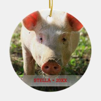 Ornement Rond En Céramique Arbre personnalisé de photo de porc d'animal