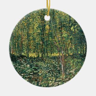 Ornement Rond En Céramique Arbres de Vincent van Gogh | et broussaille, 1887
