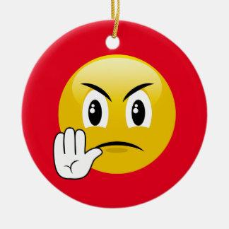 Ornement Rond En Céramique Arrêtez les mains Emoji