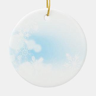 Ornement Rond En Céramique Arrière - plan de flocons de neige de Noël