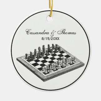 Ornement Rond En Céramique Art de cru d'échiquier et de pièces d'échecs