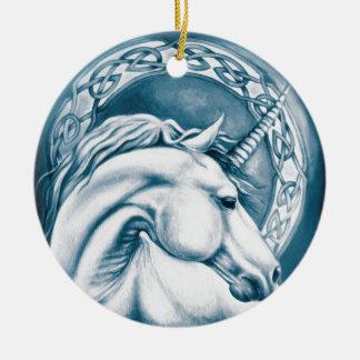Ornement Rond En Céramique Art de licorne
