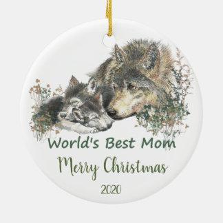 Ornement Rond En Céramique Art de loup de la maman du monde daté de Noël de