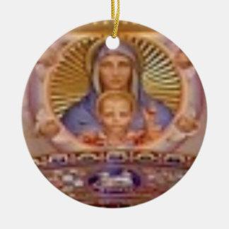 Ornement Rond En Céramique art de Mary et d'enfant