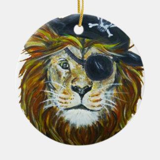 Ornement Rond En Céramique Art de pirate de lion