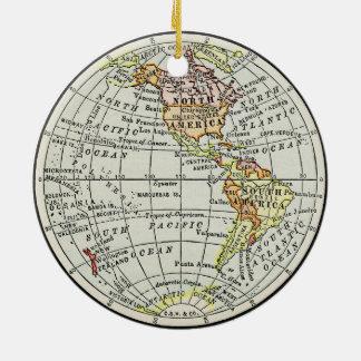 Ornement Rond En Céramique Art de voyage de globe de carte d'hémisphère de