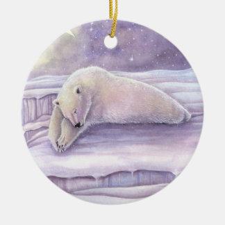 Ornement Rond En Céramique Art d'imaginaire de faune d'ours blanc de sommeil