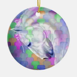Ornement Rond En Céramique Art équin de cubisme d'arc-en-ciel