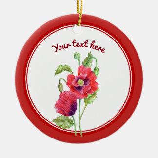 Ornement Rond En Céramique Art floral botanique de pavots rouges faits sur