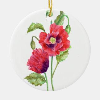 Ornement Rond En Céramique Art floral de pavots rouges d'aquarelle