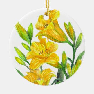 Ornement Rond En Céramique Art floral jaune d'hémérocalles d'aquarelle