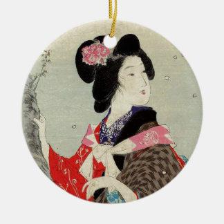 Ornement Rond En Céramique Art japonais de Madame Suzuki Kason Sakura Japon