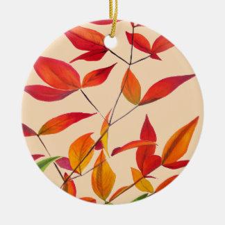 Ornement Rond En Céramique Art pour aquarelle original orange de feuille