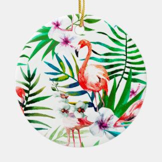 Ornement Rond En Céramique Art tropical de flamant
